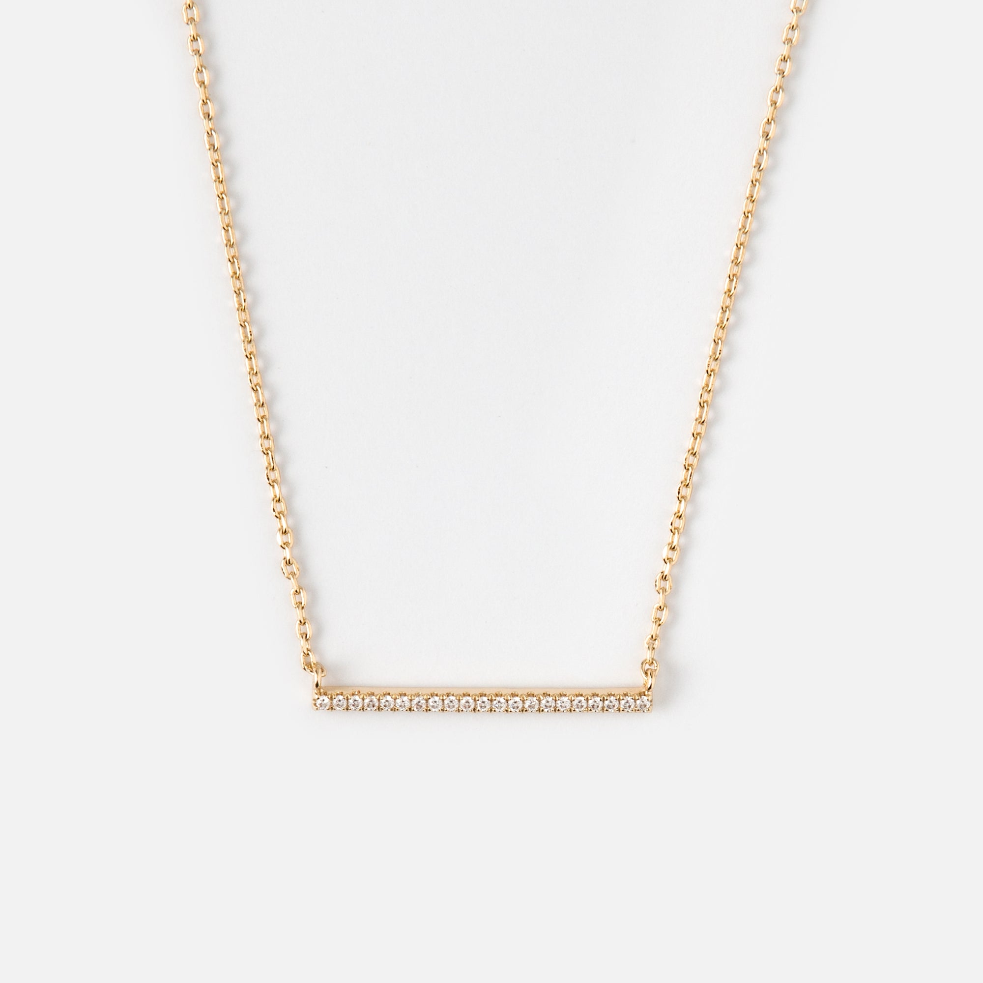 Gold Plated Fine Crystal Bar Necklace
