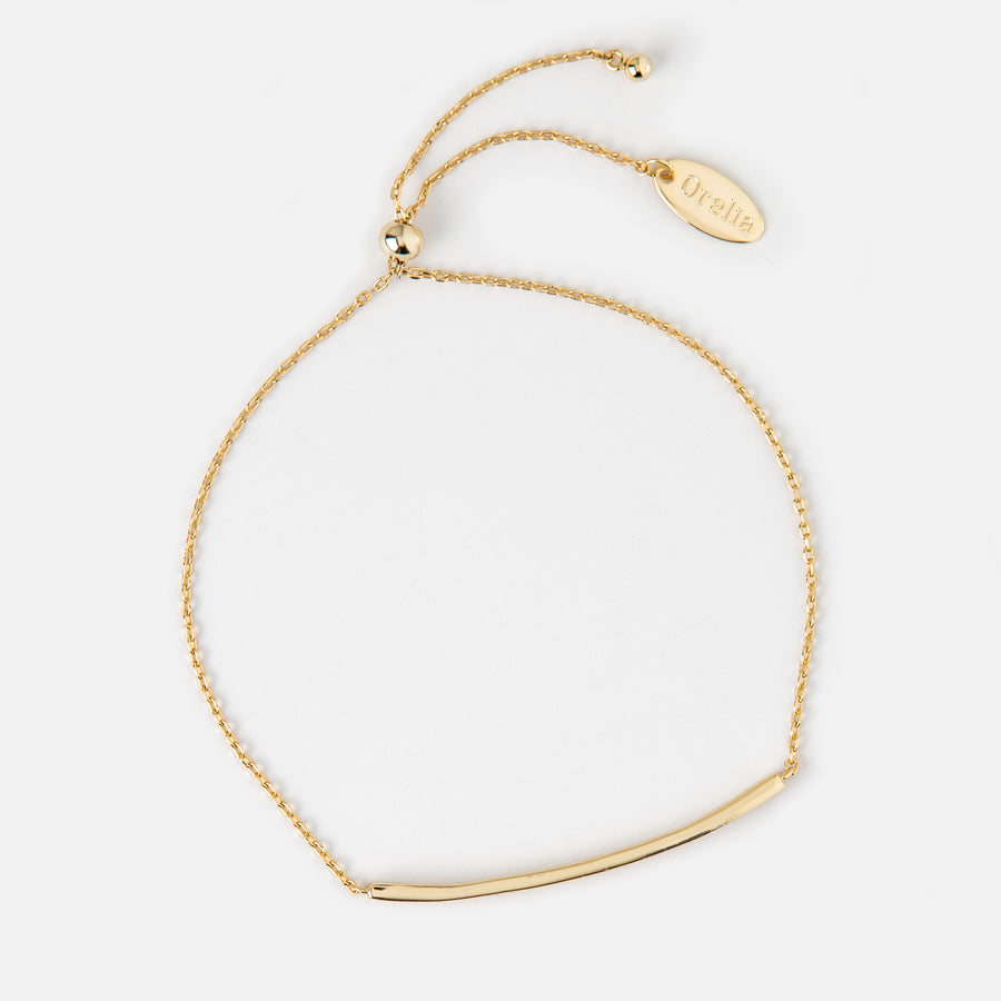 Gold Plated Crystal Bar Adjustable Bracelet