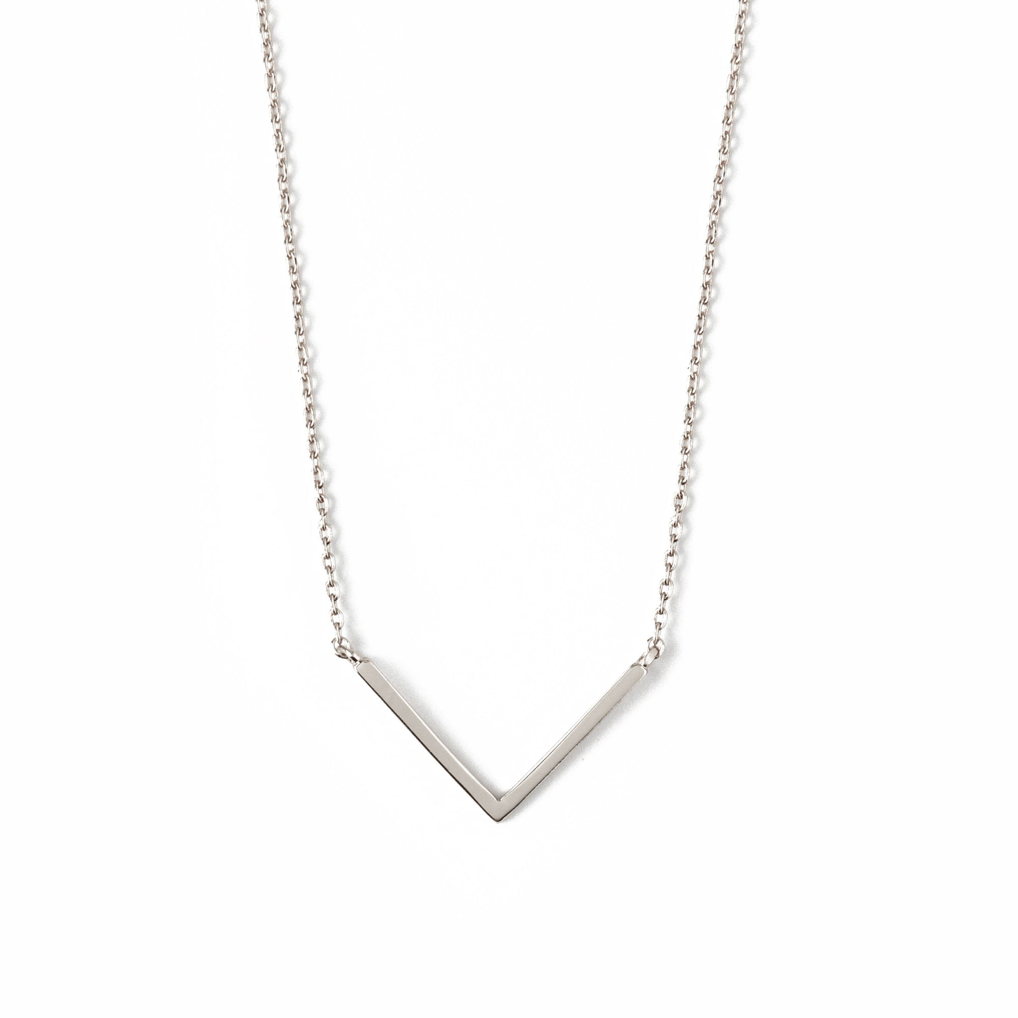 Simple V Necklace - Silver