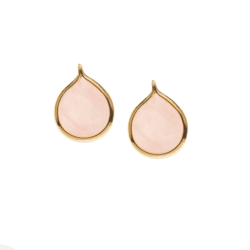 Rose Quartz Teardrop Stud Earrings
