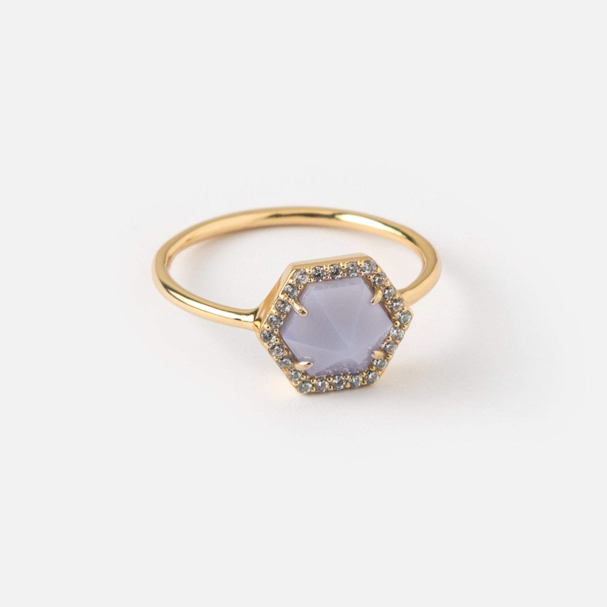 Hexagon & Pave Ring - M/L