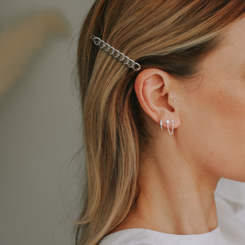 Double Stud Chain & Hoop Ear Party - Silver