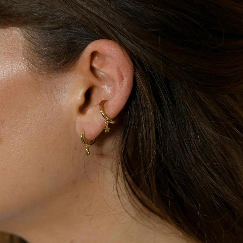 Star Charm Drop Single Ear Cuff - Gold