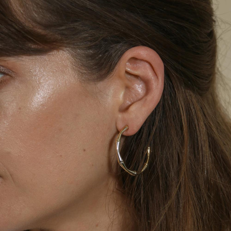 Bamboo Hoop Earrings-Gold