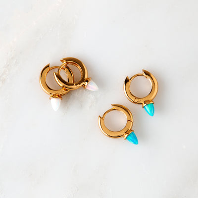 Spike Hoop Earrings - Cream