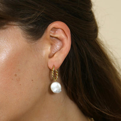 Rope Twist Pearl Drop Hoops