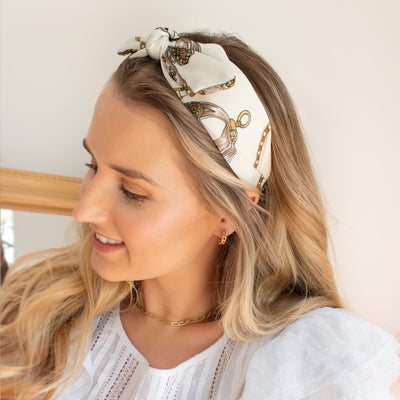 Cream Chain Turban Headband