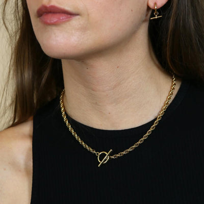 Chunky Rope Chain T-Bar Necklace