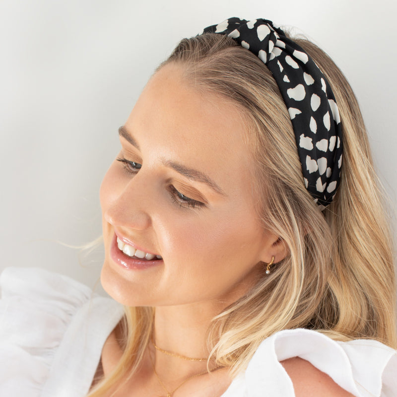 Black Leopard Turban Headband