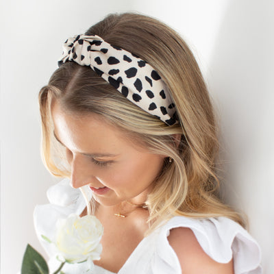 Leopard Turban Headband - Cream