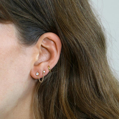 Double Stud Chain & Hoop Ear Party - Gold