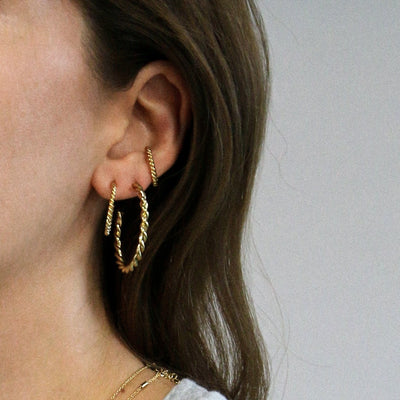 Chunky Twist Hoop Earrings-Gold