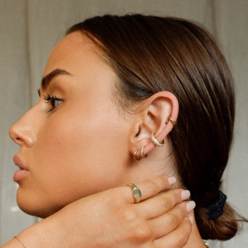 LUXE Pave Stone Huggie Hoop Earrings - Gold