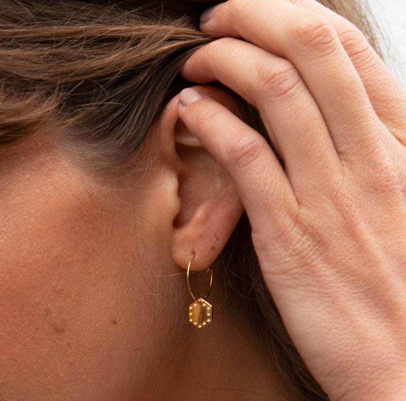 LUXE Hexagon Charm Hoop Earrings - Gold