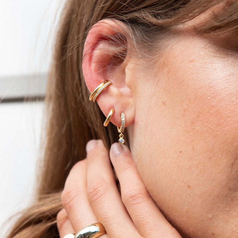 Luxe Metal & Crystal Ear Cuff Duo