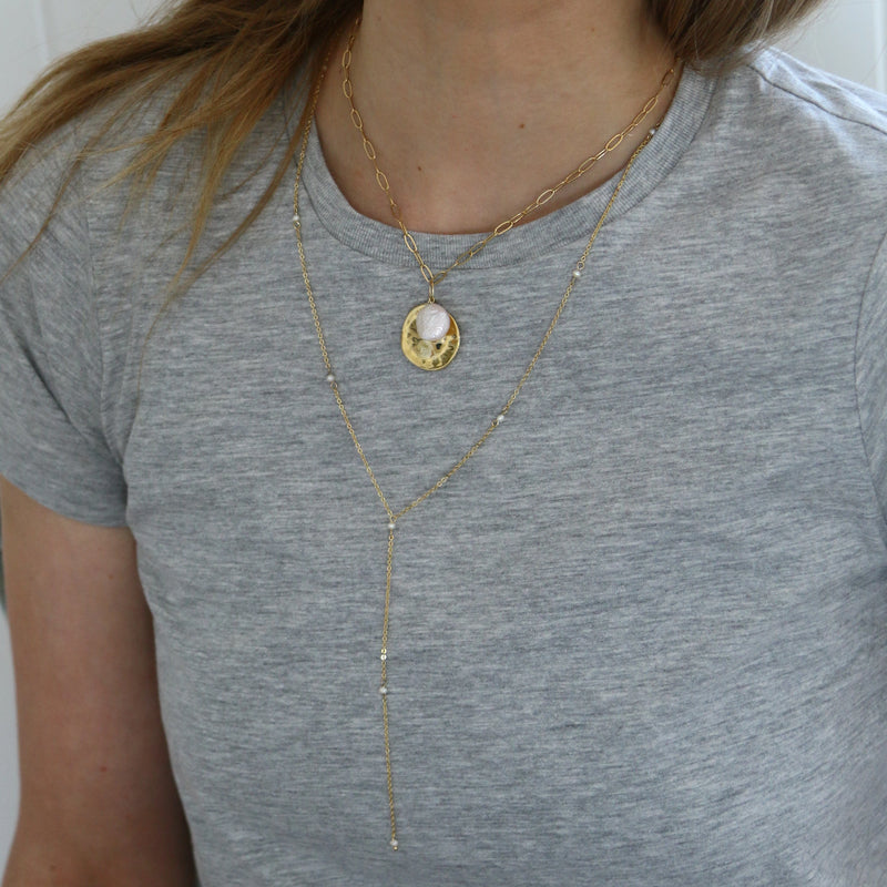 Fine Pearl Lariat Necklace
