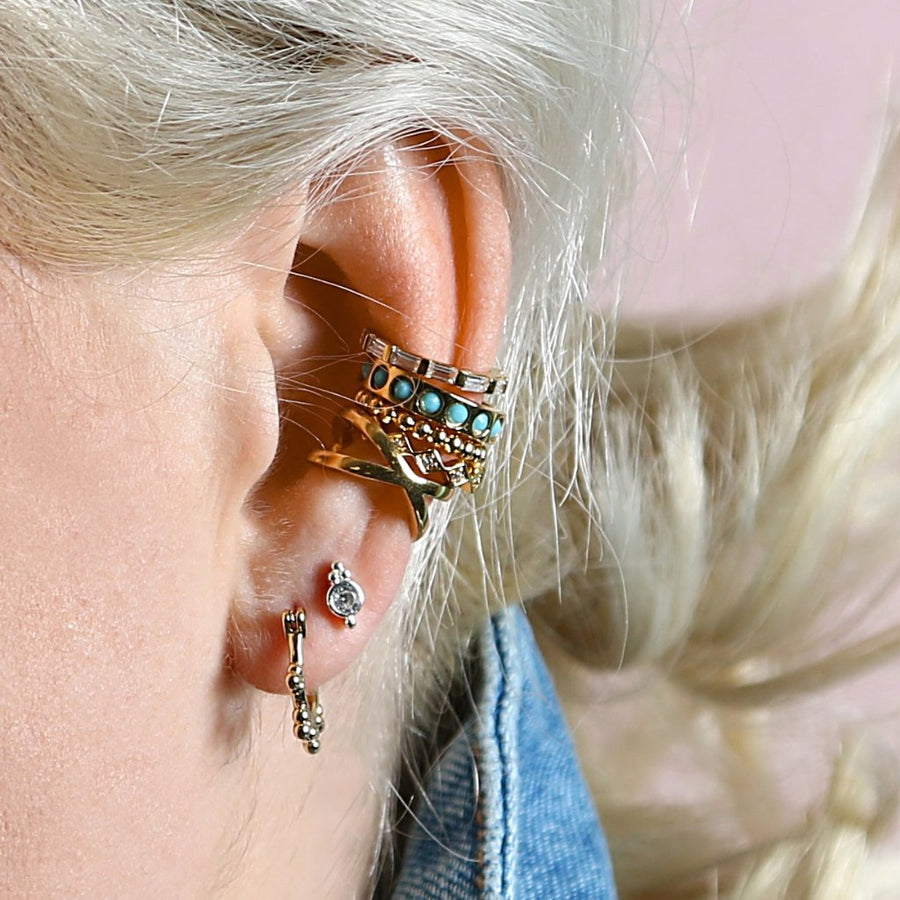 Chunky Stone Ear Cuff - Turquoise