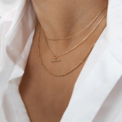 T-Bar Ditsy Charm Necklace - Gold