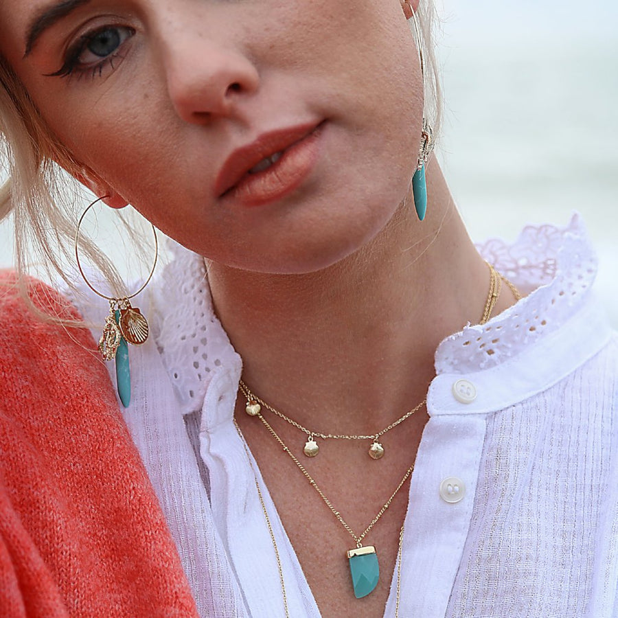 Mint Green Stone Tusk Necklace