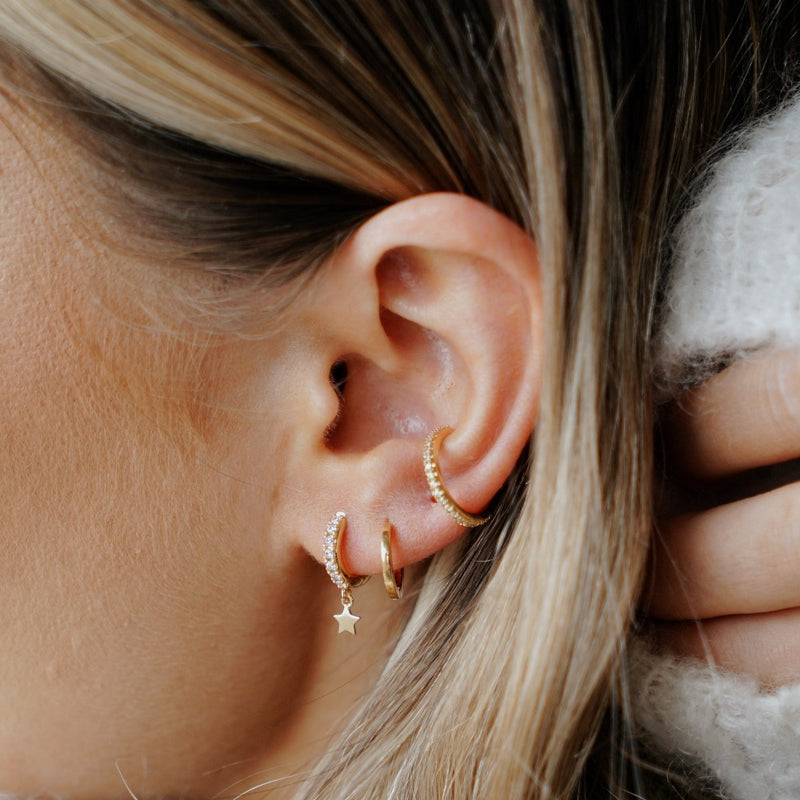 Pave Huggie Hoop Earrings with Star Drop - Gold