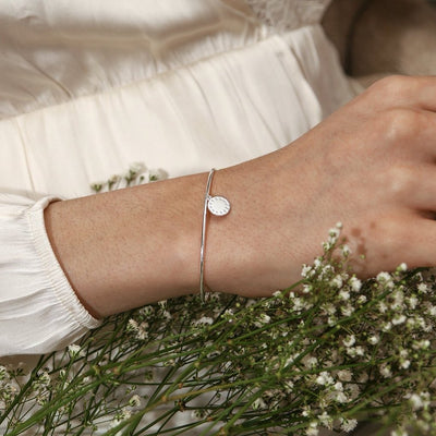 LUXE Coin Charm Bangle - Silver