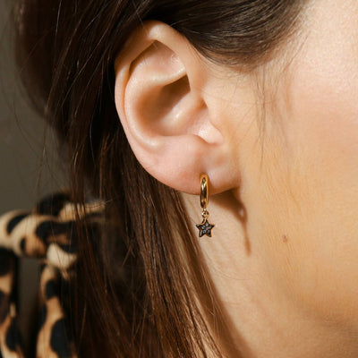 LUXE Crystal Star Drop Huggie Hoop Earrings