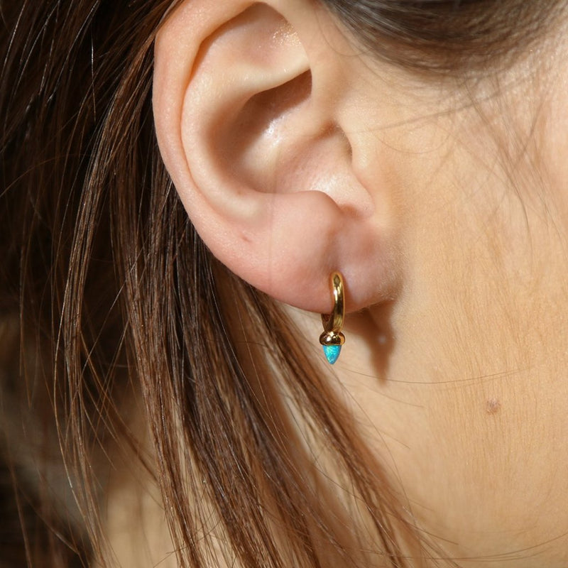 LUXE Blue Opal Spike Huggie Hoop Earrings