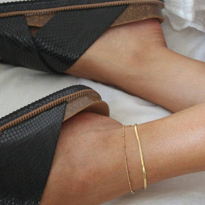 Satellite & Snake Chain Anklet Duo