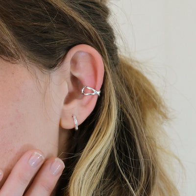 Crossover Metal Ear Cuff - Silver
