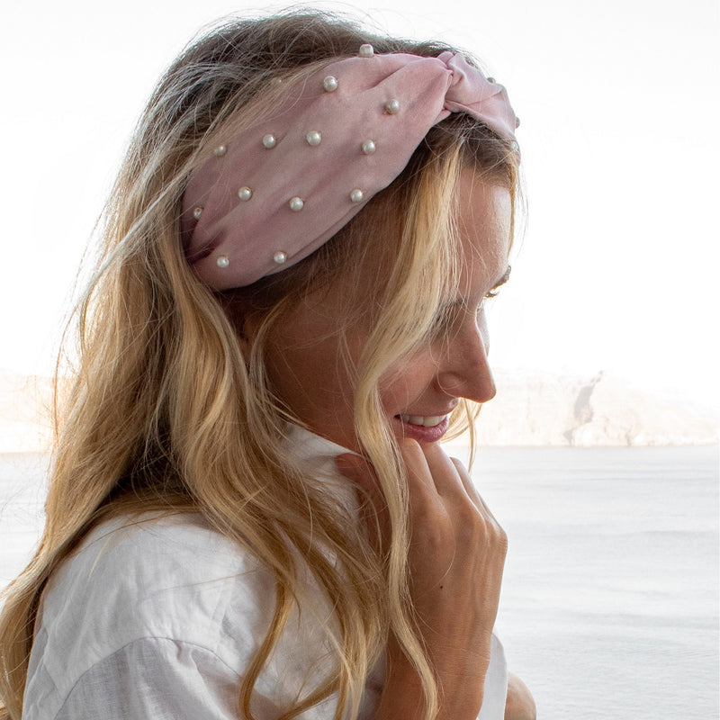 Pearl Embellished Turban Hairband- Blush