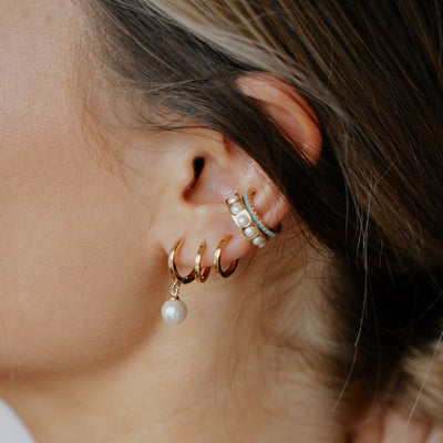 Pearl Drop Huggie Hoop Earrings