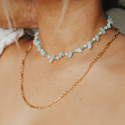 Semi Precious Turquoise Chip Necklace
