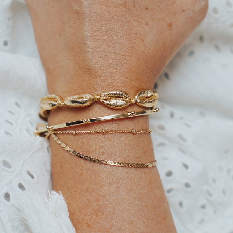 Satellite & Flat Curb Bracelet Duo