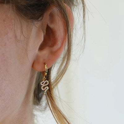 Single Jewelled Serpent Huggie Hoop Earring