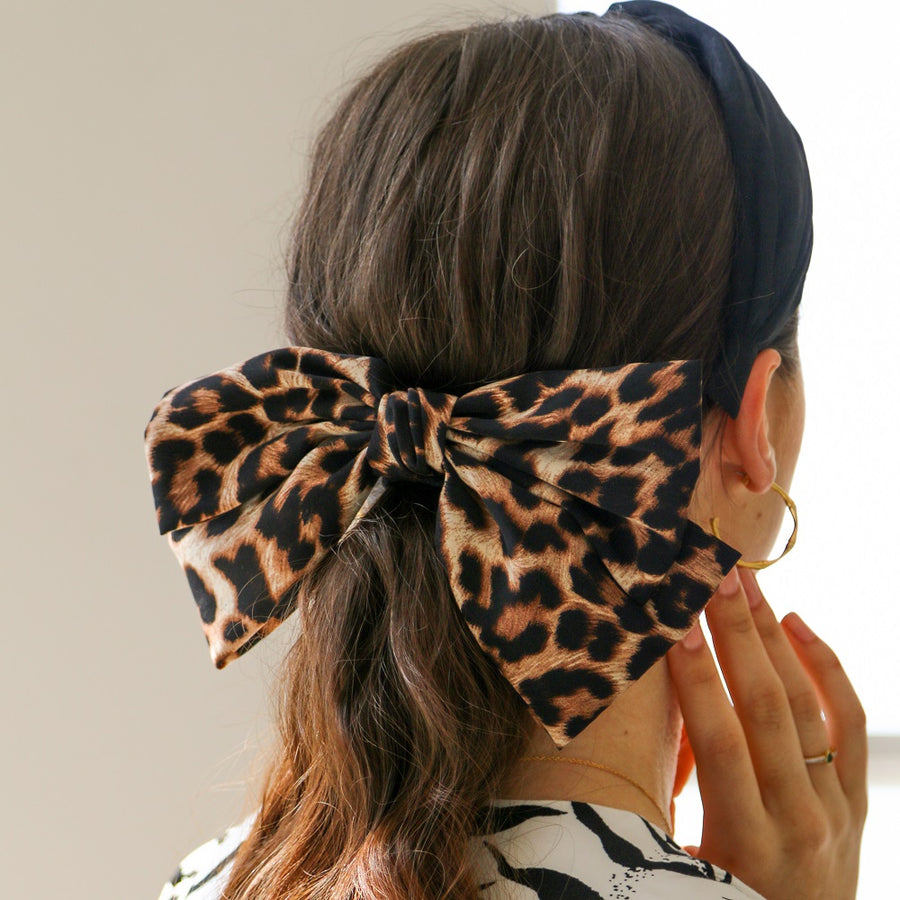 Large Leopard Hair Bow