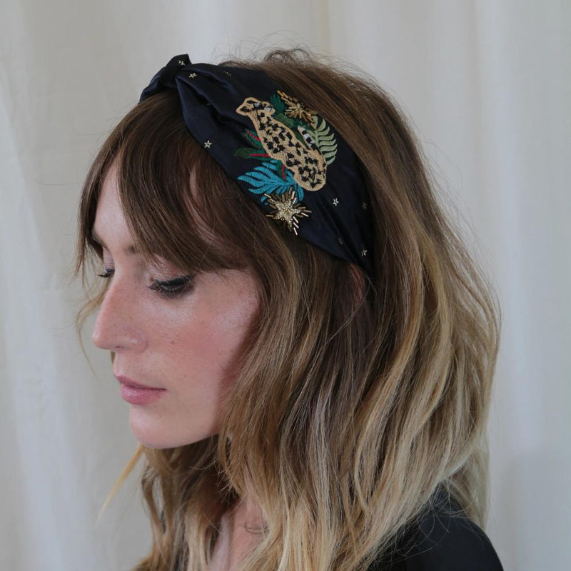 Leopard Embroidered Turban Headband - Navy