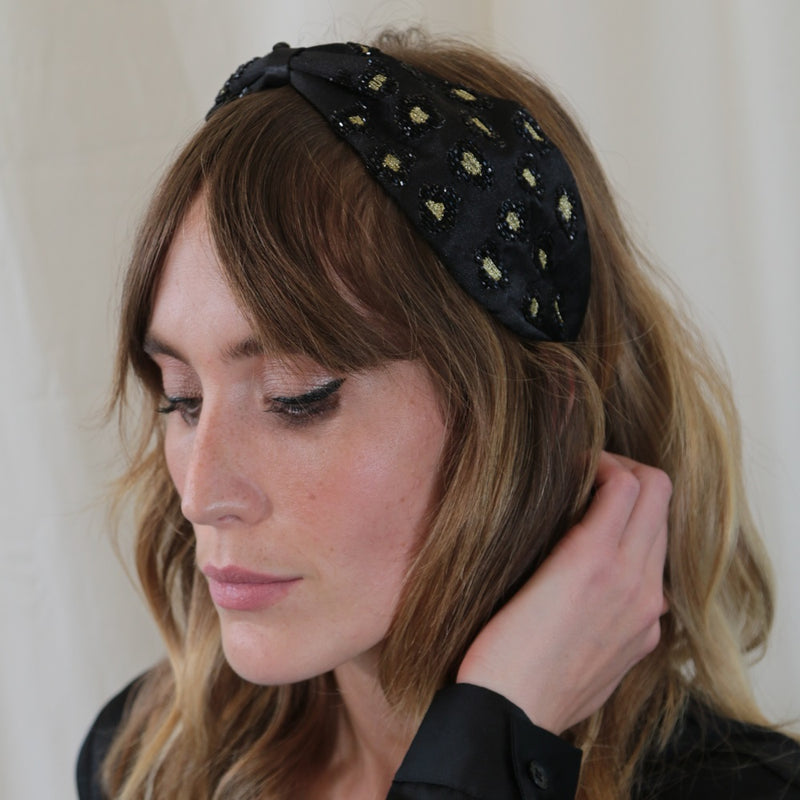 Black Embroidered Leopard Print Turban