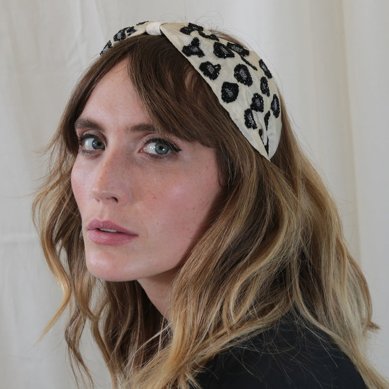 Cream Embroidered Leopard Print Turban