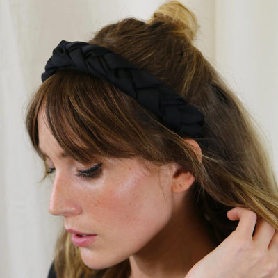 Plaited Satin Headband - Black