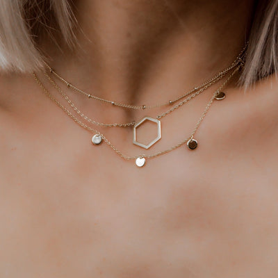 Cutout Hexagon Charm Necklace