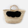 Woven Basket Bag With Pom Poms - Black