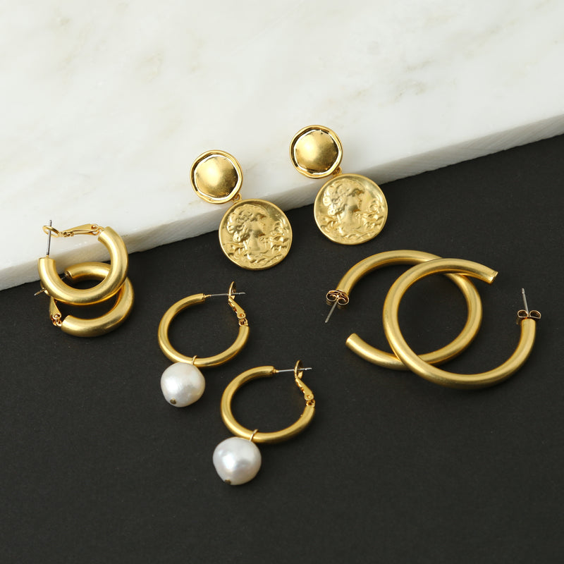 Pearl Drop Chunky Hoop Earrings - Gold