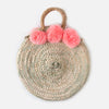 Round Straw Bag With Pom Poms - Pink