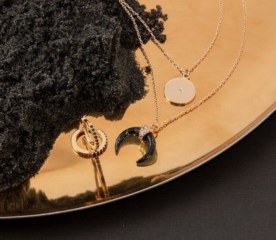 Crescent & Coin Layered Necklace - Black Agate