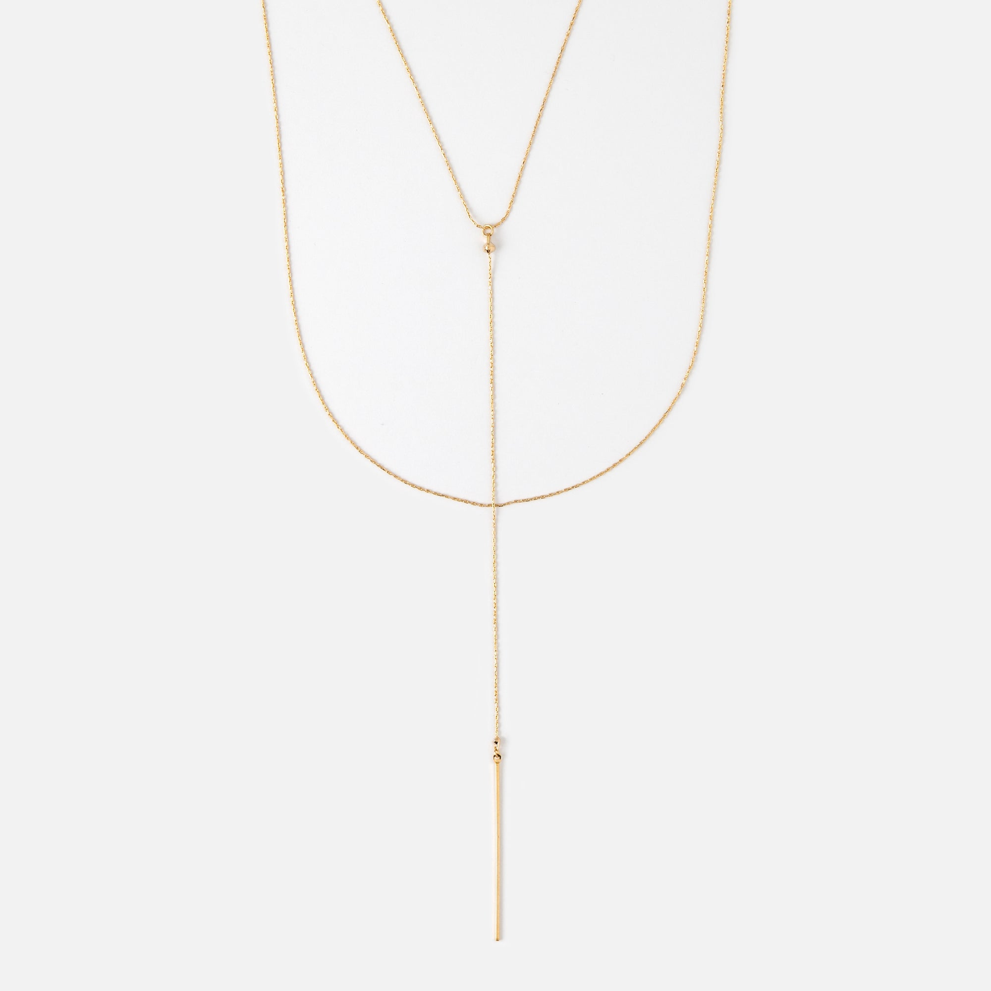 Three Row Fine Lariat Necklace