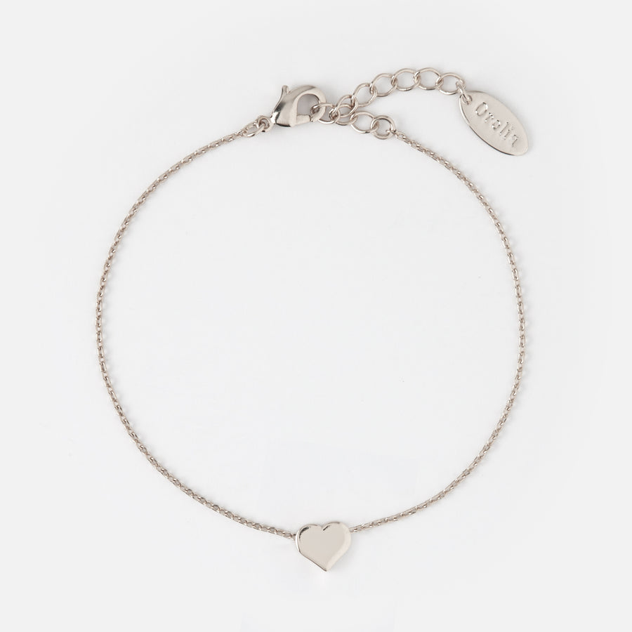 Thread Thru Heart Chain Bracelet - Silver
