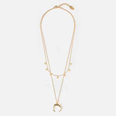 Mini Coin & Horn Necklace - Gold