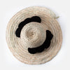 Straw hat with pom poms - black