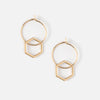 Mini Hoop Earrings With Large Hexagon