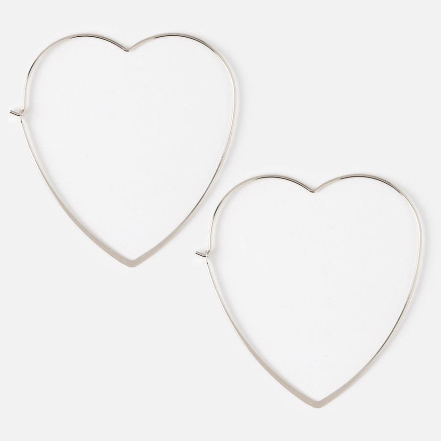 Large Heart Hoop Earrings - Silver